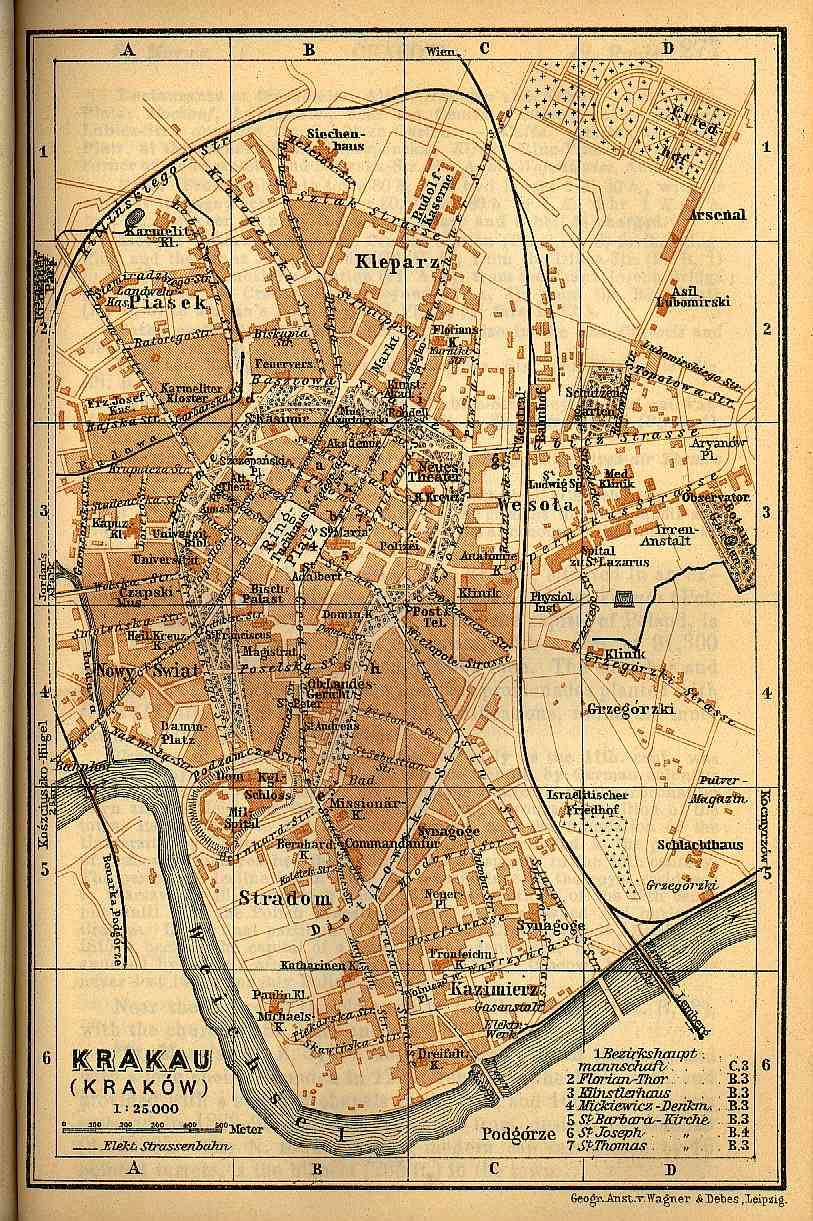 Map of Krakow 1905 Gesher Galicia
