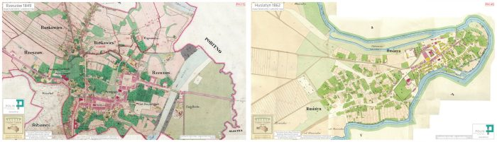 1849 cadastral map of Rzeszów and 1862 cadastral map of Husiatyn